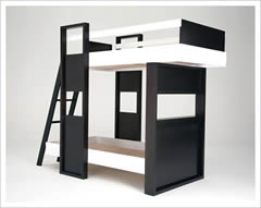 Kids Space Saving Bedroom Furniture utilising space in small rooms. Image shows ladder fitted to access the top. The frame is made from wood and is coloured in black and white paint finish although other options and colours are available to order.